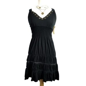 American Rag Cie Black Dress Gold Accents, XS, NWT
